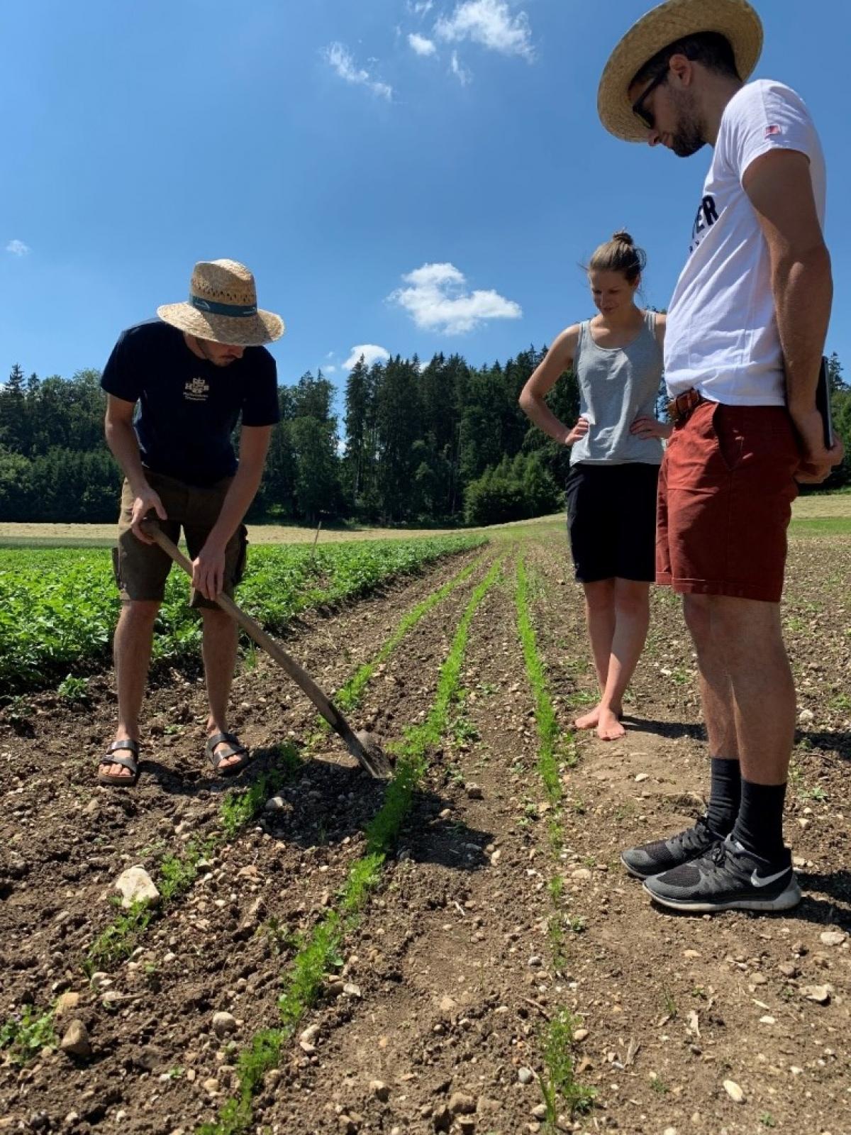 Alexander Wichtlhuber (links) aus Tittmoning steigt heuer erstmals in den Anbau von Karotten und Feldgemüse ein, daneben Beraterin Franziska Blind.