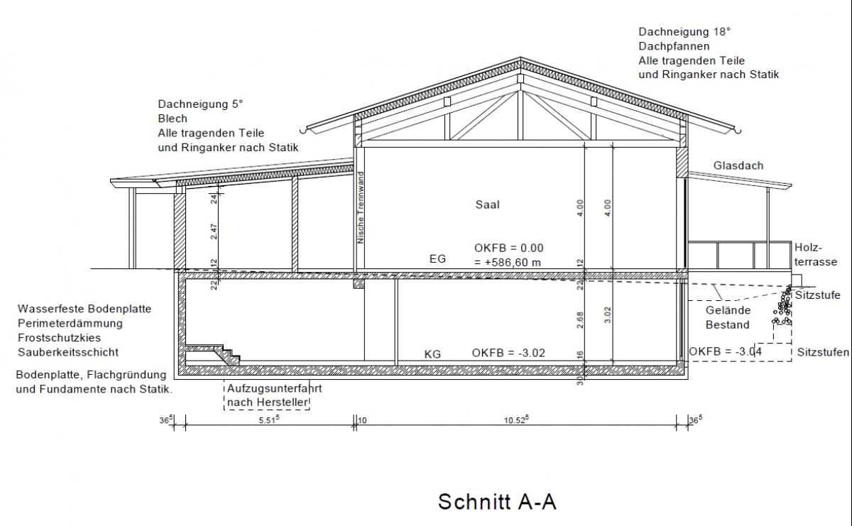 Bürgerhaus - Schnitt A-A