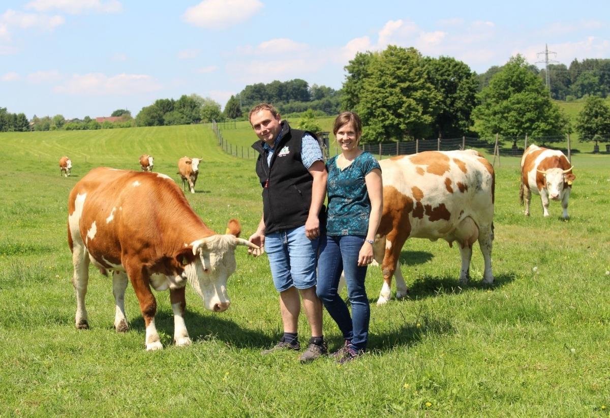 Bei Blasius und Lisa Standl aus Großgerstetten dürfen die Kühe ihrer Hörner behalten. Sie haben 2017 mit der Umstellung begonnen und sind seit November 2019 zertifizierter Bio-Milchbetrieb.